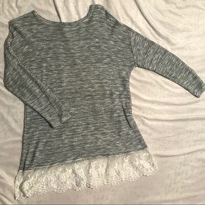 Gray and white lace 3/4 sleeve sweater size large